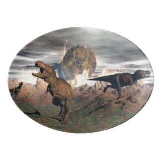 Tyrannosaurus dinosaur exctinction - 3D render Porcelain Serving Platter