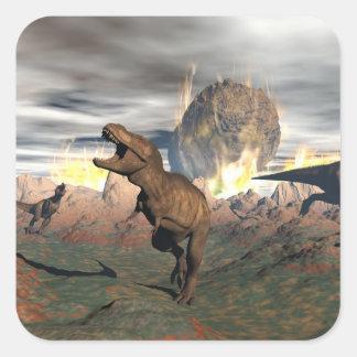 Tyrannosaurus dinosaur exctinction - 3D render Square Sticker