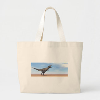 Tyrannosaurus dinosaur in the desert - 3D render Large Tote Bag