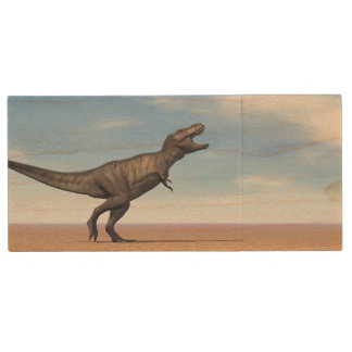 Tyrannosaurus dinosaur in the desert - 3D render Wood USB Flash Drive