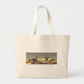Tyrannosaurus dinosaurs exctinction - 3D render Large Tote Bag
