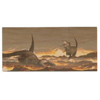 Tyrannosaurus dinosaurs exctinction - 3D render Wood USB Flash Drive