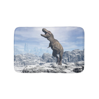 Tyrannosaurus in the snow - 3D render Bath Mat