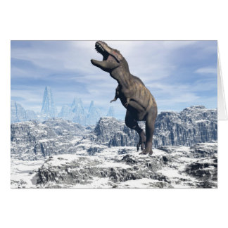 Tyrannosaurus in the snow - 3D render Card