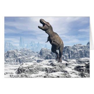 Tyrannosaurus in the snow - 3D render Card