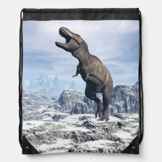 Tyrannosaurus in the snow - 3D render Drawstring Bag