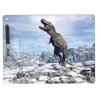 Tyrannosaurus in the snow - 3D render Dry Erase Board With Keychain Holder