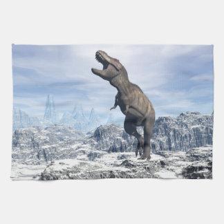 Tyrannosaurus in the snow - 3D render Kitchen Towel