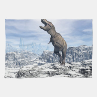 Tyrannosaurus in the snow - 3D render Kitchen Towels