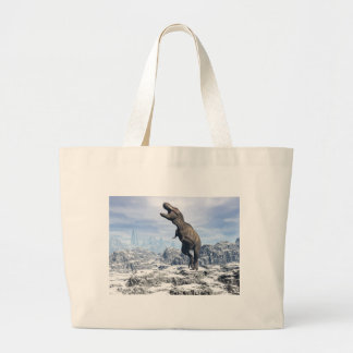 Tyrannosaurus in the snow - 3D render Large Tote Bag