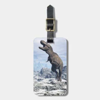 Tyrannosaurus in the snow - 3D render Luggage Tag