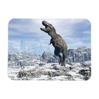 Tyrannosaurus in the snow - 3D render Magnet