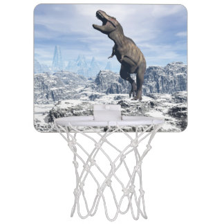 Tyrannosaurus in the snow - 3D render Mini Basketball Hoop