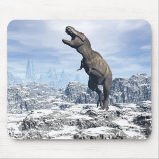 Tyrannosaurus in the snow - 3D render Mouse Pad