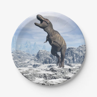 Tyrannosaurus in the snow - 3D render Paper Plate