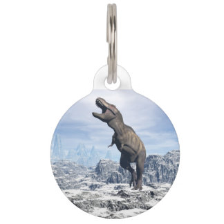 Tyrannosaurus in the snow - 3D render Pet ID Tag