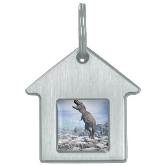 Tyrannosaurus in the snow - 3D render Pet Name Tags