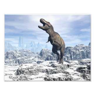 Tyrannosaurus in the snow - 3D render Photo Print