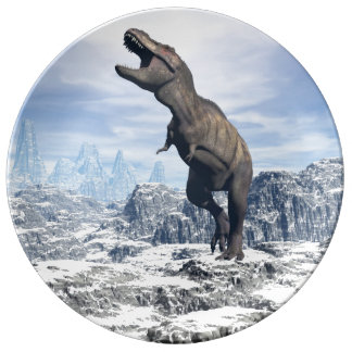 Tyrannosaurus in the snow - 3D render Plate