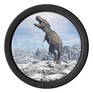 Tyrannosaurus in the snow - 3D render Poker Chips