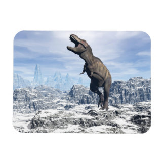 Tyrannosaurus in the snow - 3D render Rectangular Photo Magnet