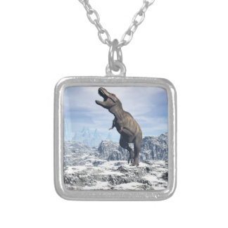 Tyrannosaurus in the snow - 3D render Silver Plated Necklace