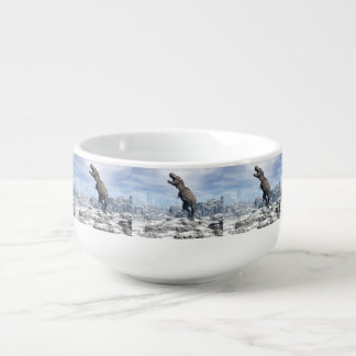 Tyrannosaurus in the snow - 3D render Soup Mug