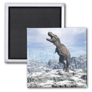 Tyrannosaurus in the snow - 3D render Square Magnet