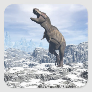 Tyrannosaurus in the snow - 3D render Square Sticker
