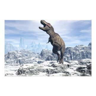 Tyrannosaurus in the snow - 3D render Stationery
