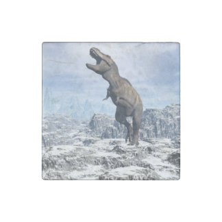 Tyrannosaurus in the snow - 3D render Stone Magnets