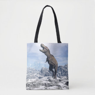 Tyrannosaurus in the snow - 3D render Tote Bag