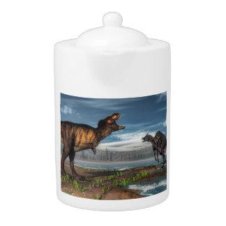 Tyrannosaurus rex and saurolophus dinosaurs