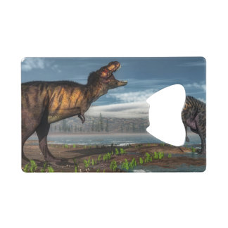 Tyrannosaurus rex and saurolophus dinosaurs credit card bottle opener