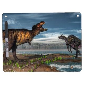 Tyrannosaurus rex and saurolophus dinosaurs dry erase white board