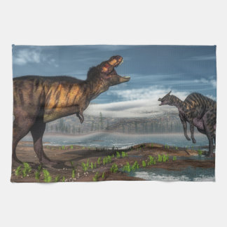 Tyrannosaurus rex and saurolophus dinosaurs kitchen towel