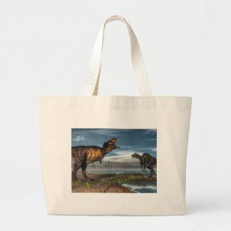 Tyrannosaurus rex and saurolophus dinosaurs large tote bag