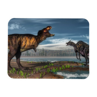 Tyrannosaurus rex and saurolophus dinosaurs rectangular photo magnet