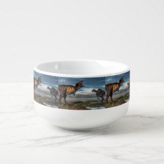 Tyrannosaurus rex and saurolophus dinosaurs soup mug