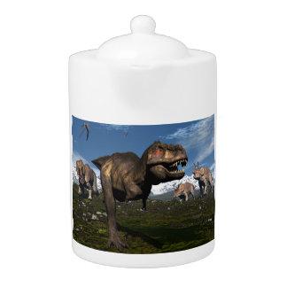 Tyrannosaurus rex attacked by triceratops dinosaur