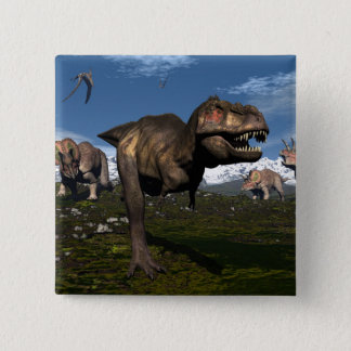 Tyrannosaurus rex attacked by triceratops dinosaur 2 inch square button