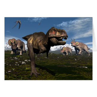Tyrannosaurus rex attacked by triceratops dinosaur card
