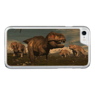 Tyrannosaurus rex attacked by triceratops dinosaur carved iPhone 8/7 case
