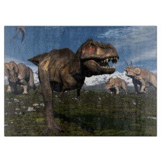 Tyrannosaurus rex attacked by triceratops dinosaur cutting board