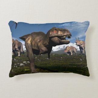 Tyrannosaurus rex attacked by triceratops dinosaur decorative pillow