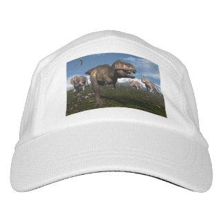 Tyrannosaurus rex attacked by triceratops dinosaur hat