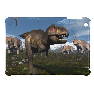 Tyrannosaurus rex attacked by triceratops dinosaur iPad mini cases