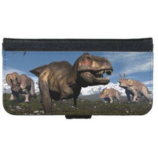 Tyrannosaurus rex attacked by triceratops dinosaur iPhone 6 wallet case