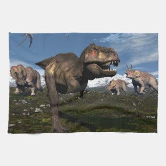 Tyrannosaurus rex attacked by triceratops dinosaur kitchen towel