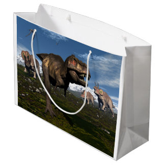 Tyrannosaurus rex attacked by triceratops dinosaur large gift bag